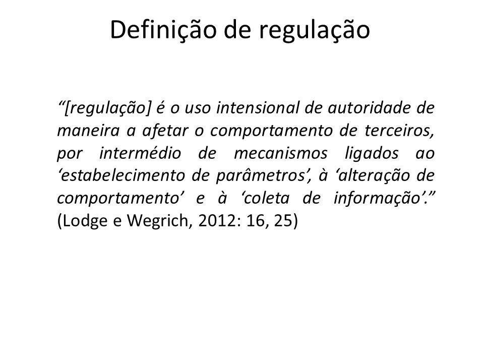 Definição de regulação [regulação] é o uso intensional de autoridade de maneira a afetar o comportamento de terceiros, por intermédio de mecanismos li