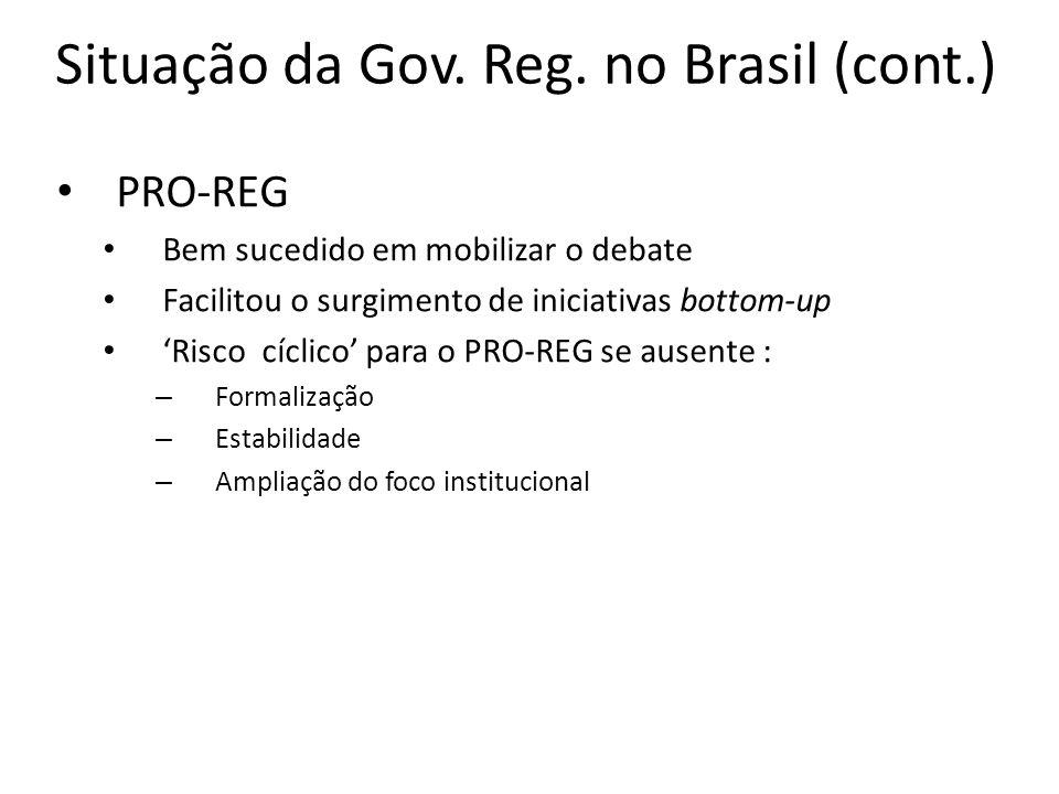 Situação da Gov. Reg. no Brasil (cont.) PRO-REG Bem sucedido em mobilizar o debate Facilitou o surgimento de iniciativas bottom-up Risco cíclico para
