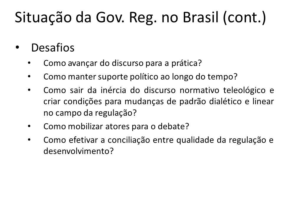 Situação da Gov. Reg. no Brasil (cont.) Desafios Como avançar do discurso para a prática? Como manter suporte político ao longo do tempo? Como sair da