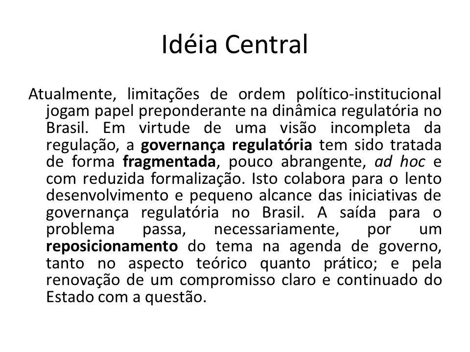 Idéia Central Atualmente, limitações de ordem político-institucional jogam papel preponderante na dinâmica regulatória no Brasil. Em virtude de uma vi