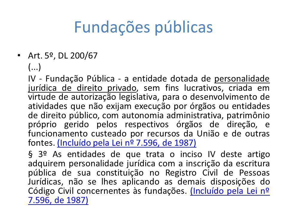 Fundações públicas Art. 5º, DL 200/67 (...) IV - Fundação Pública - a entidade dotada de personalidade jurídica de direito privado, sem fins lucrativo