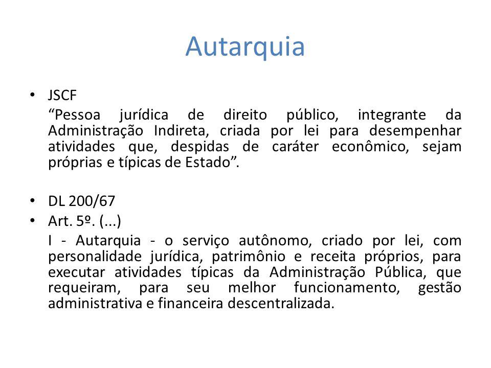 Autarquia JSCF Pessoa jurídica de direito público, integrante da Administração Indireta, criada por lei para desempenhar atividades que, despidas de c