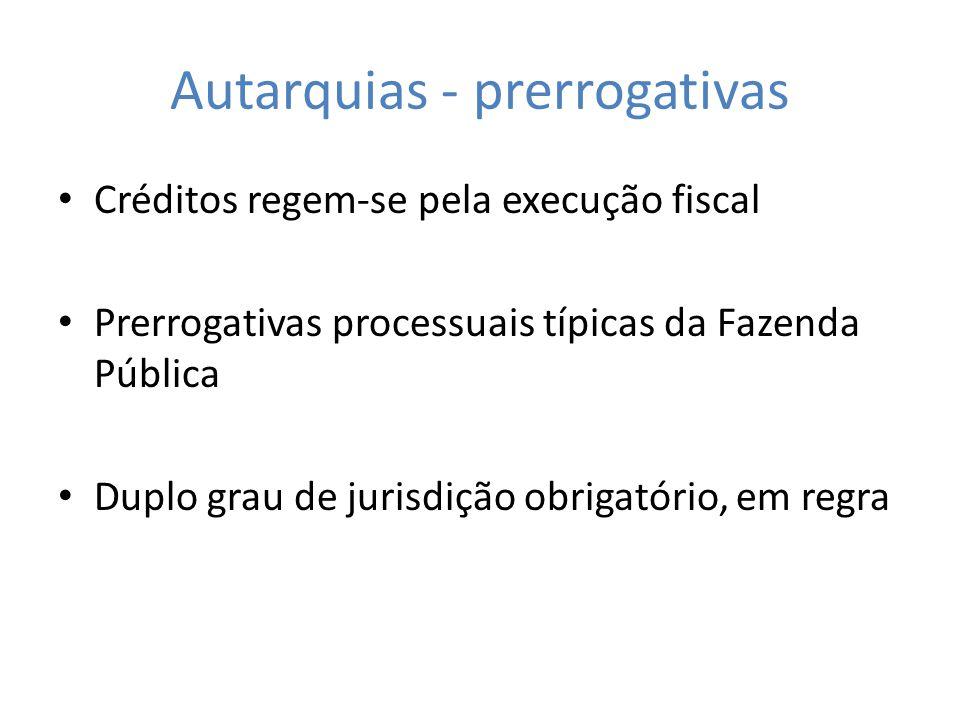 Autarquias - prerrogativas Créditos regem-se pela execução fiscal Prerrogativas processuais típicas da Fazenda Pública Duplo grau de jurisdição obriga