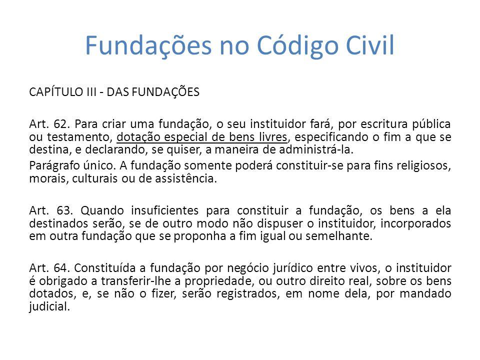 Fundações no Código Civil CAPÍTULO III - DAS FUNDAÇÕES Art. 62. Para criar uma fundação, o seu instituidor fará, por escritura pública ou testamento,