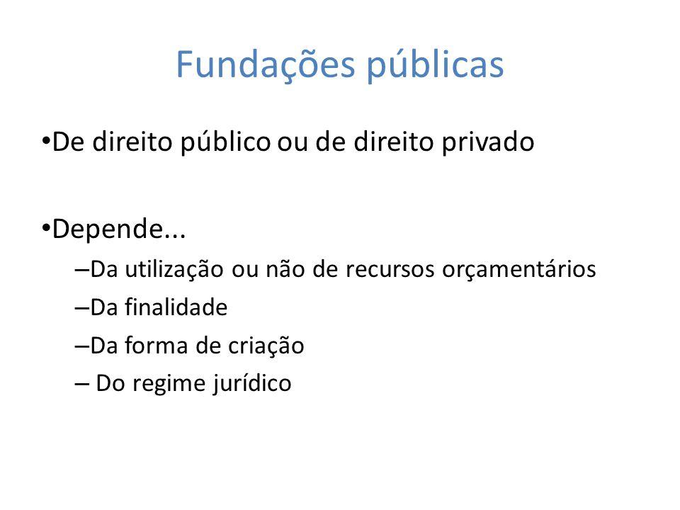 Fundações públicas De direito público ou de direito privado Depende... – Da utilização ou não de recursos orçamentários – Da finalidade – Da forma de