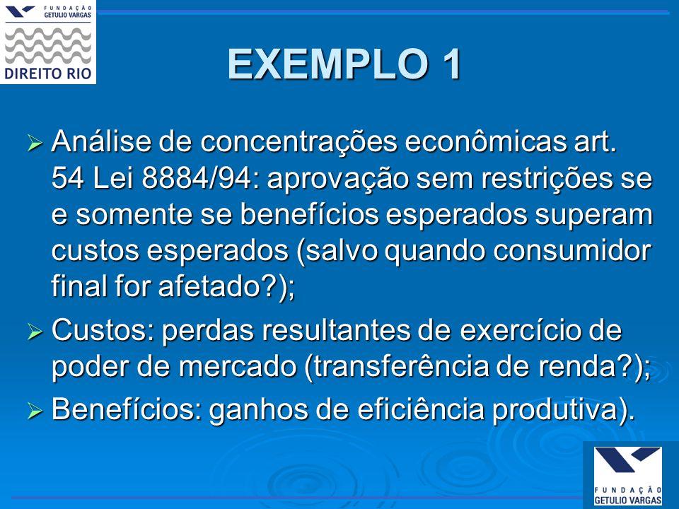 EXEMPLO 1 EXEMPLO 1 Análise de concentrações econômicas art. 54 Lei 8884/94: aprovação sem restrições se e somente se benefícios esperados superam cus