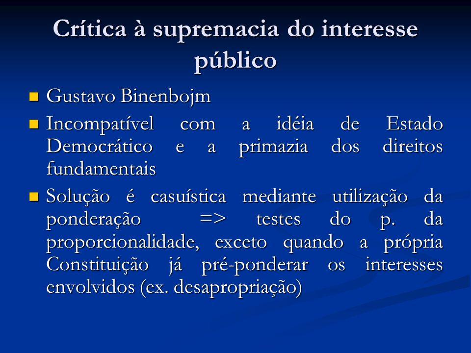 Crítica à supremacia do interesse público Gustavo Binenbojm Gustavo Binenbojm Incompatível com a idéia de Estado Democrático e a primazia dos direitos