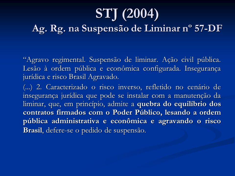 STJ (2004) Ag. Rg. na Suspensão de Liminar nº 57-DF Agravo regimental. Suspensão de liminar. Ação civil pública. Lesão à ordem pública e econômica con