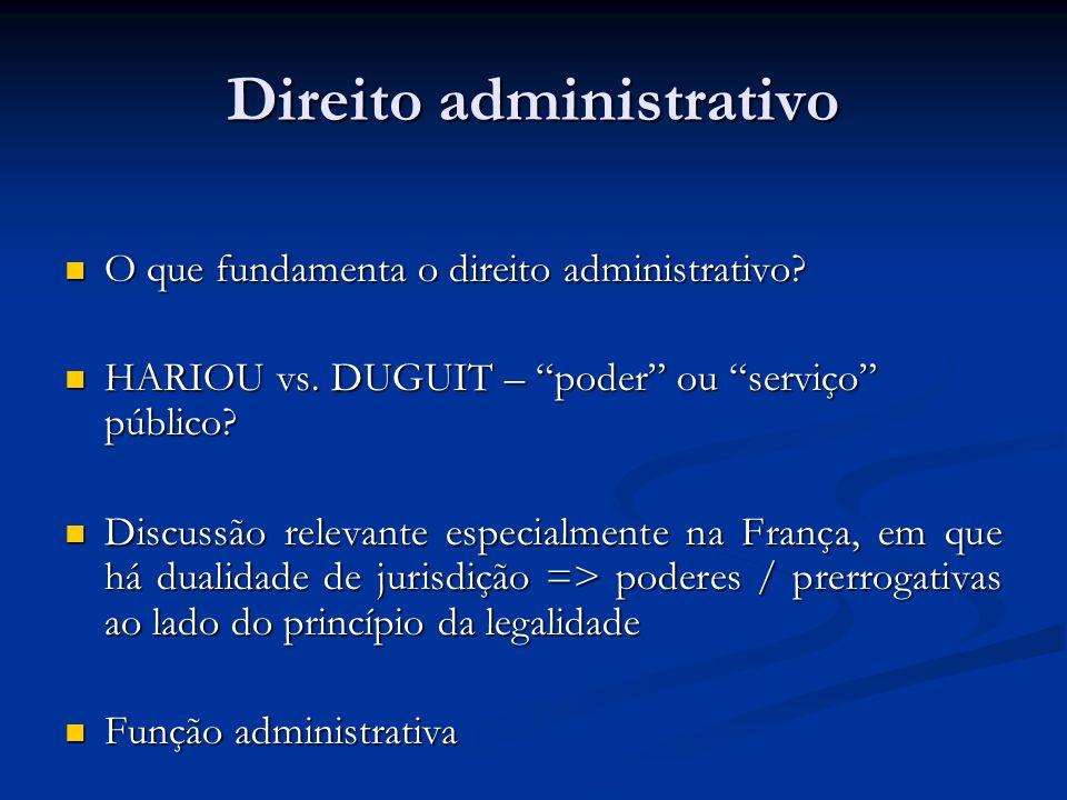 Direito administrativo O que fundamenta o direito administrativo? O que fundamenta o direito administrativo? HARIOU vs. DUGUIT – poder ou serviço públ