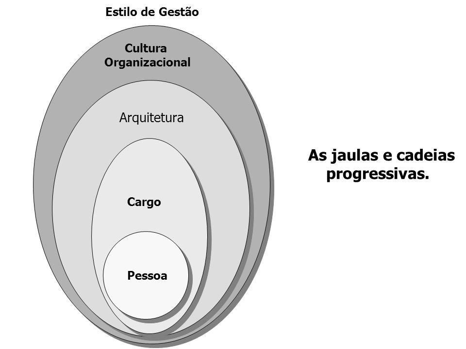 Pessoa Cargo Arquitetura Cultura Organizacional Estilo de Gestão As jaulas e cadeias progressivas.