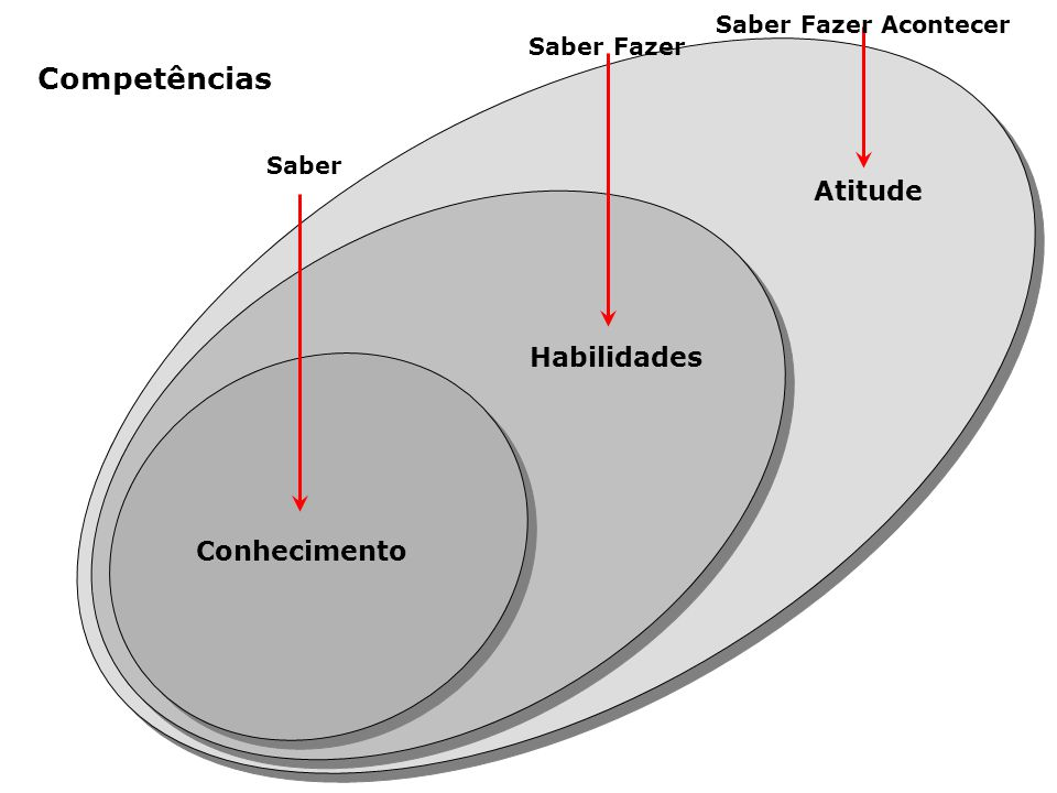 Conhecimento Habilidades Atitude Saber Saber Fazer Saber Fazer Acontecer Competências