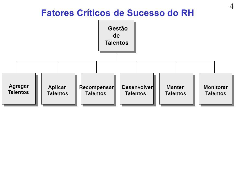 Fatores Críticos de Sucesso do RH Agregar Talentos Aplicar Talentos Recompensar Talentos Monitorar Talentos Manter Talentos Desenvolver Talentos Gestã