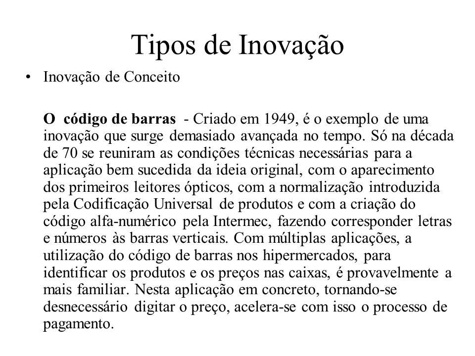 Tipos de Inovação Inovação de Conceito O código de barras - Criado em 1949, é o exemplo de uma inovação que surge demasiado avançada no tempo. Só na d