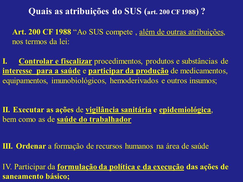 Quais as atribuições do SUS ( art. 200 CF 1988 ) ? I.Controlar e fiscalizar procedimentos, produtos e substâncias de interesse para a saúde e particip