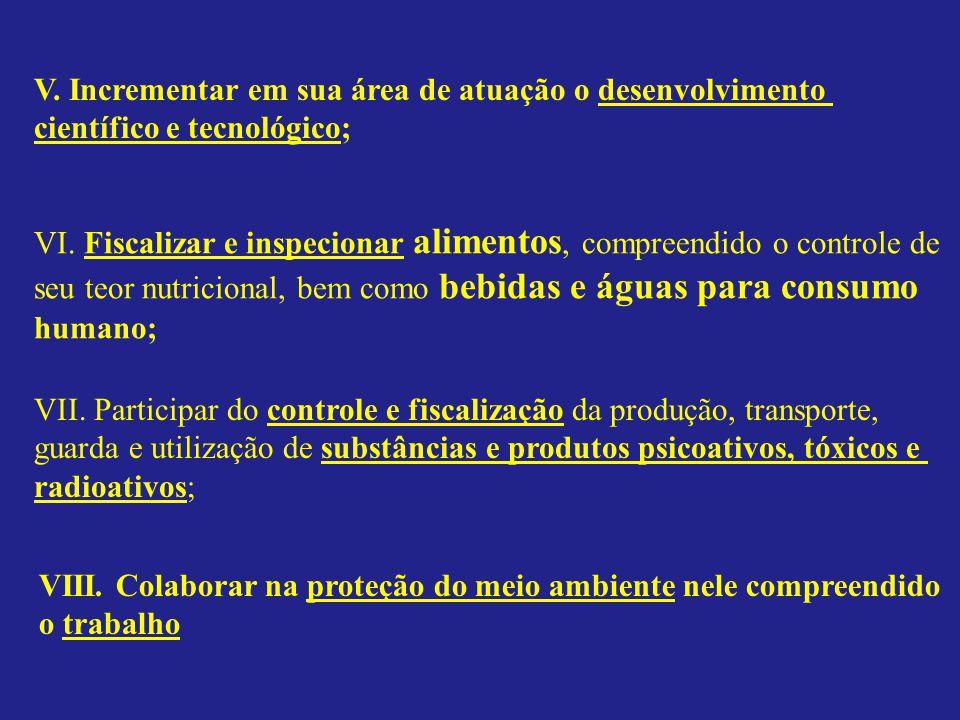 V.Incrementar em sua área de atuação o desenvolvimento científico e tecnológico; VI.
