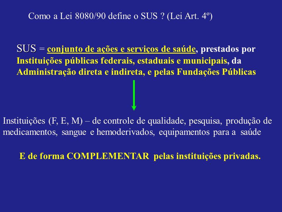 Como a Lei 8080/90 define o SUS ? (Lei Art. 4º) SUS SUS = conjunto de ações e serviços de saúde, prestados por Instituições públicas federais, estadua