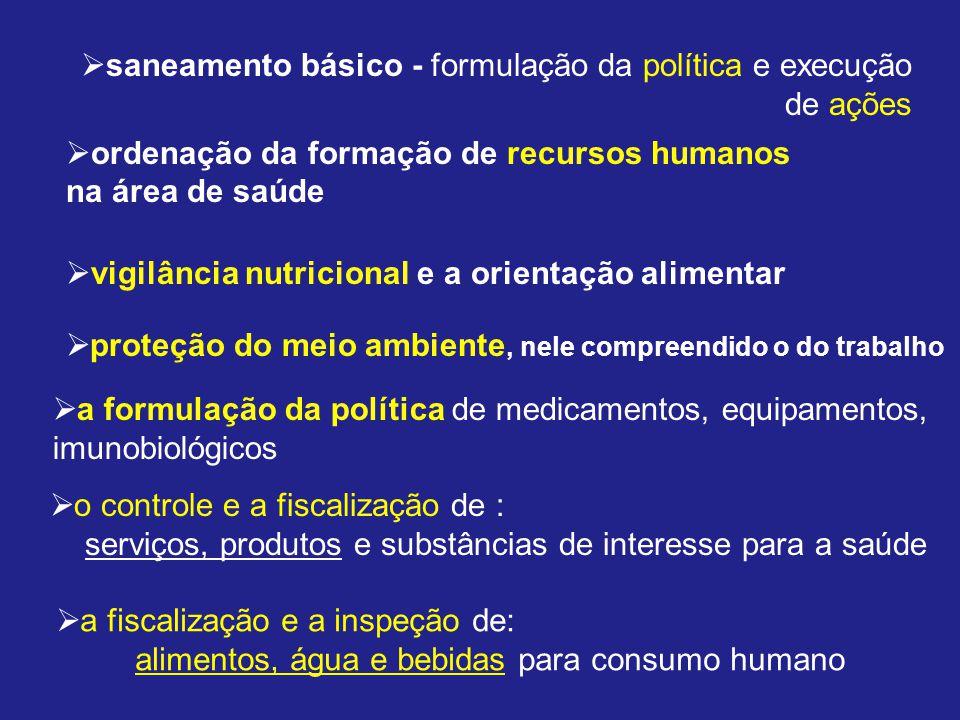 saneamento básico - formulação da política e execução de ações ordenação da formação de recursos humanos na área de saúde vigilância nutricional e a o