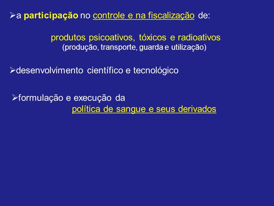 a participação no controle e na fiscalização de: produtos psicoativos, tóxicos e radioativos (produção, transporte, guarda e utilização) desenvolvimento científico e tecnológico formulação e execução da política de sangue e seus derivados