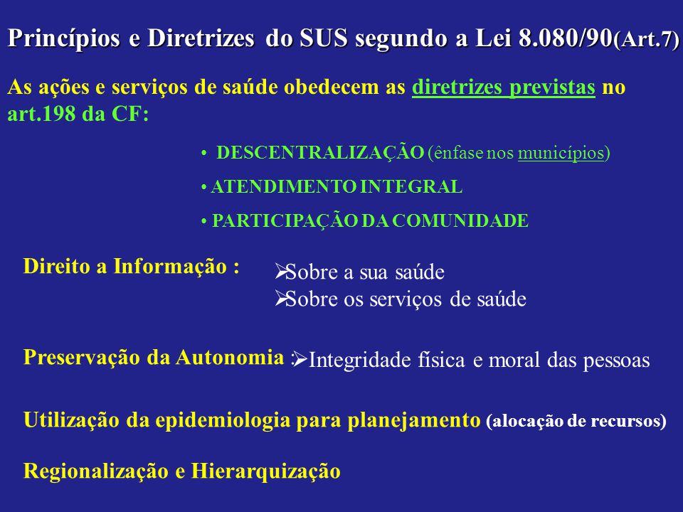 Princípios e Diretrizes do SUS segundo a Lei 8.080/90 (Art.7) As ações e serviços de saúde obedecem as diretrizes previstas no art.198 da CF: DESCENTR