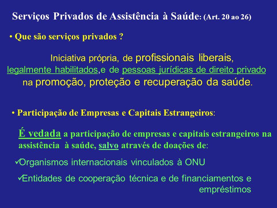 Serviços Privados de Assistência à Saúde : (Art. 20 ao 26) Iniciativa própria, de profissionais liberais, legalmente habilitados,e de pessoas jurídica