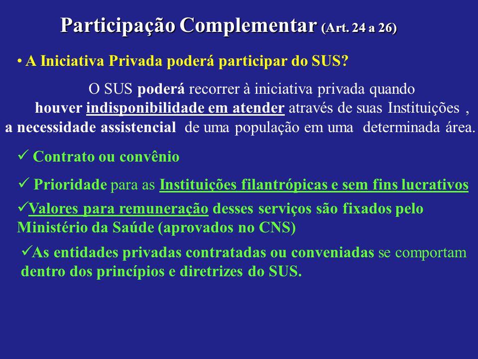 Participação Complementar (Art. 24 a 26) A Iniciativa Privada poderá participar do SUS? O SUS poderá recorrer à iniciativa privada quando houver indis