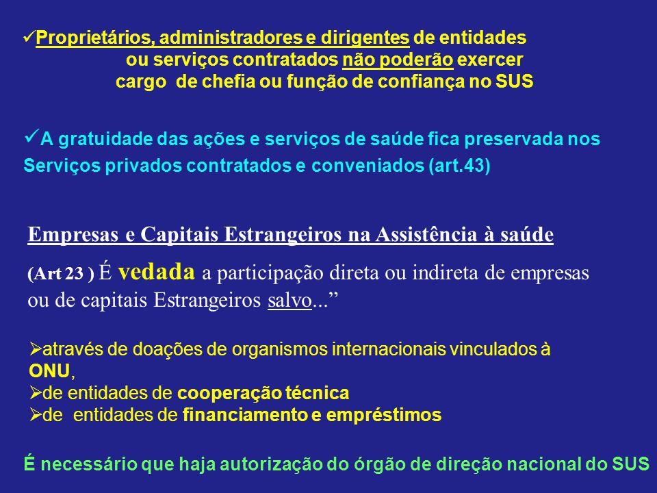 A gratuidade das ações e serviços de saúde fica preservada nos Serviços privados contratados e conveniados (art.43) Proprietários, administradores e d