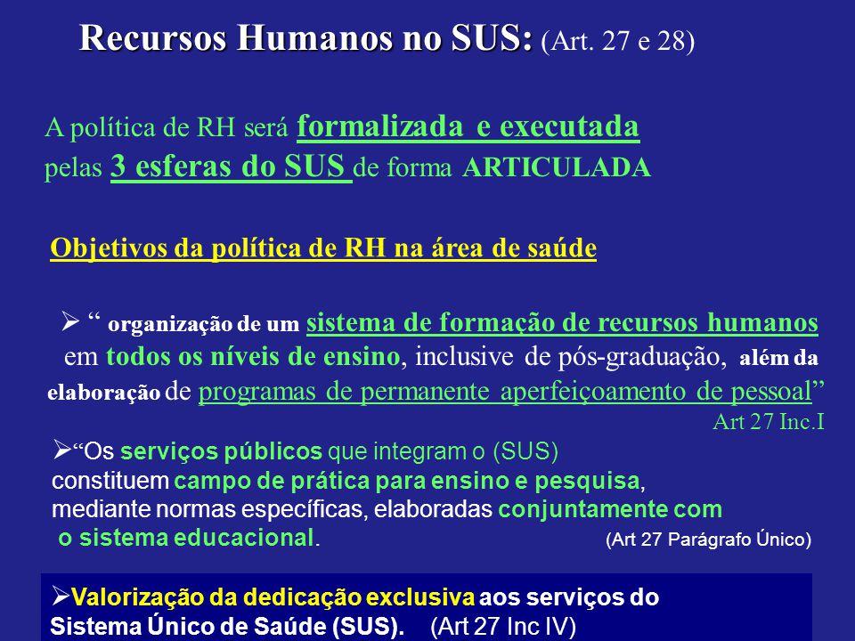Recursos Humanos no SUS: Recursos Humanos no SUS: (Art. 27 e 28) A política de RH será formalizada e executada pelas 3 esferas do SUS de forma ARTICUL