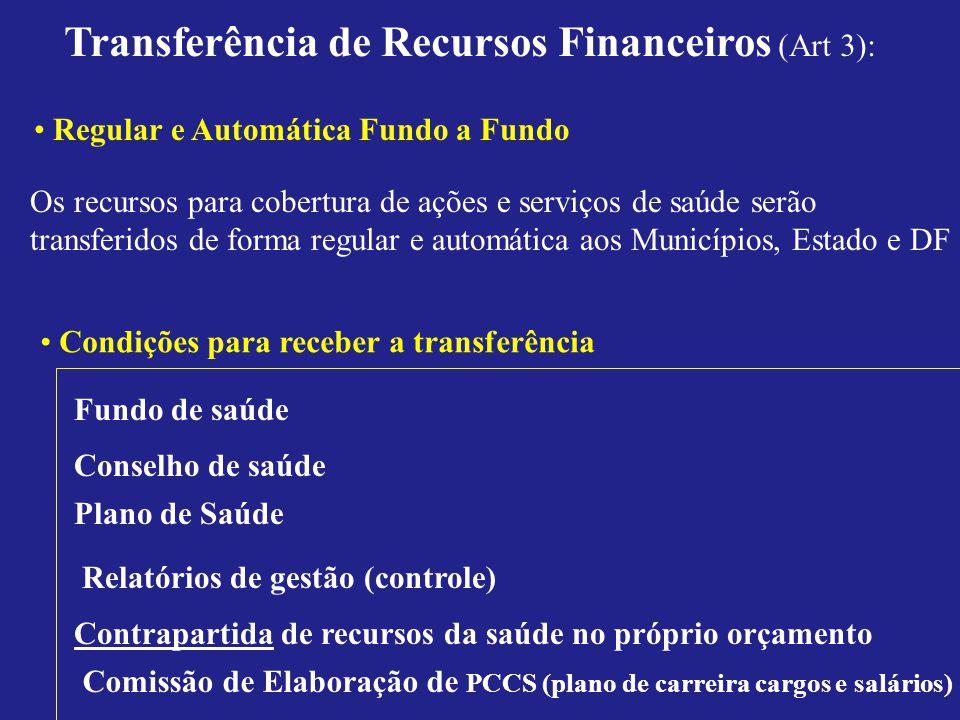 Transferência de Recursos Financeiros (Art 3): Os recursos para cobertura de ações e serviços de saúde serão transferidos de forma regular e automátic