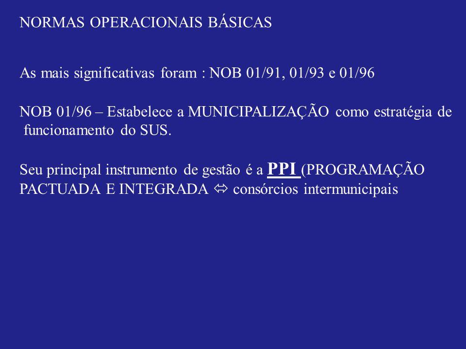NORMAS OPERACIONAIS BÁSICAS As mais significativas foram : NOB 01/91, 01/93 e 01/96 NOB 01/96 – Estabelece a MUNICIPALIZAÇÃO como estratégia de funcionamento do SUS.