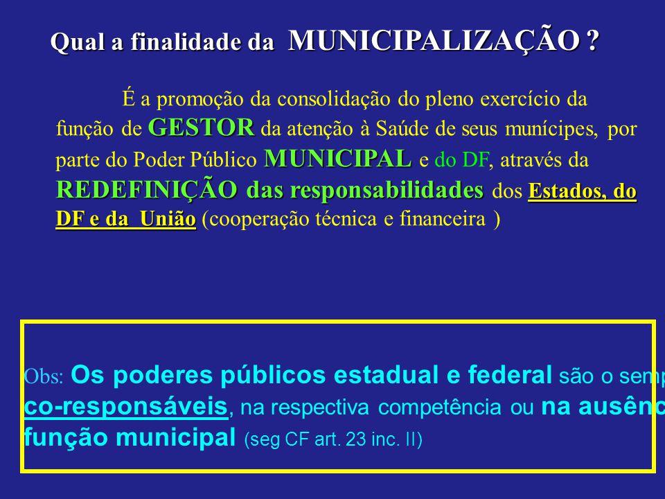 Qual a finalidade da MUNICIPALIZAÇÃO ? É a promoção da consolidação do pleno exercício da GESTOR MUNICIPAL REDEFINIÇÃO das responsabilidades Estados,