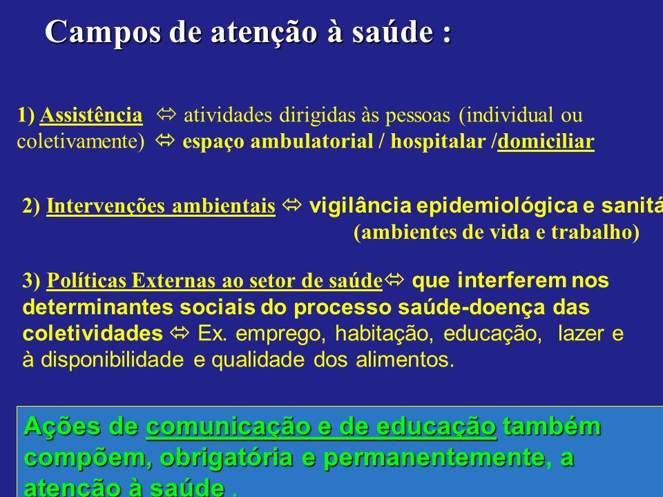 Campos de atenção à saúde : 1) Assistência atividades dirigidas às pessoas (individual ou coletivamente) espaço ambulatorial / hospitalar /domiciliar