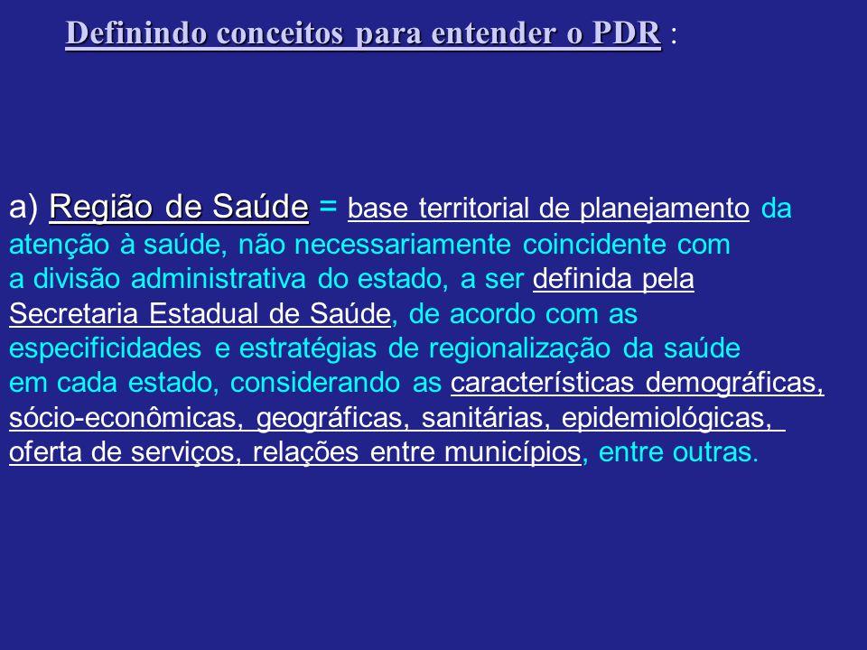Definindo conceitos para entender o PDR Definindo conceitos para entender o PDR : Região de Saúde a) Região de Saúde = base territorial de planejament