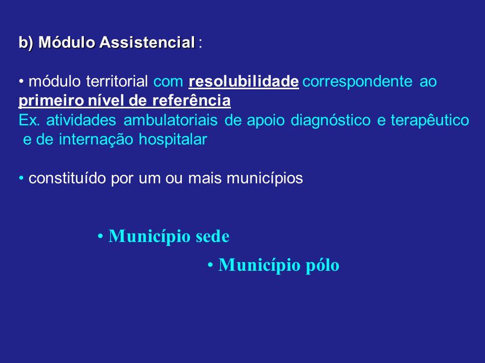 b) Módulo Assistencial b) Módulo Assistencial : módulo territorial com resolubilidade correspondente ao primeiro nível de referência Ex.