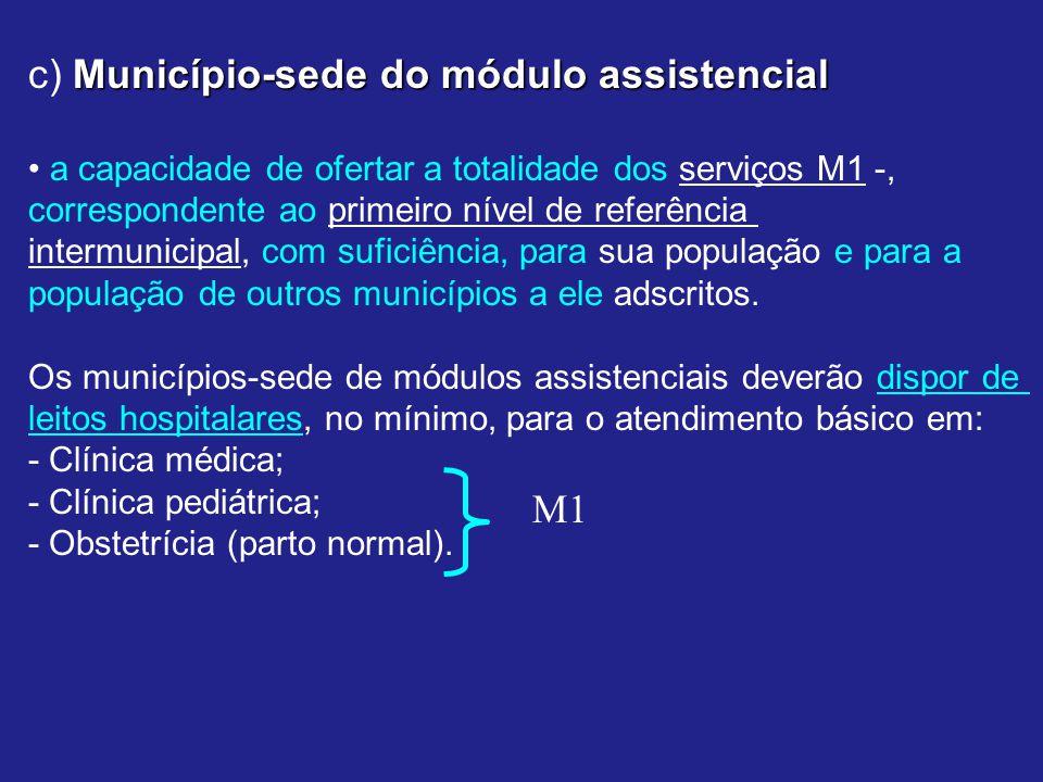 Município-sede do módulo assistencial c) Município-sede do módulo assistencial a capacidade de ofertar a totalidade dos serviços M1 -, correspondente