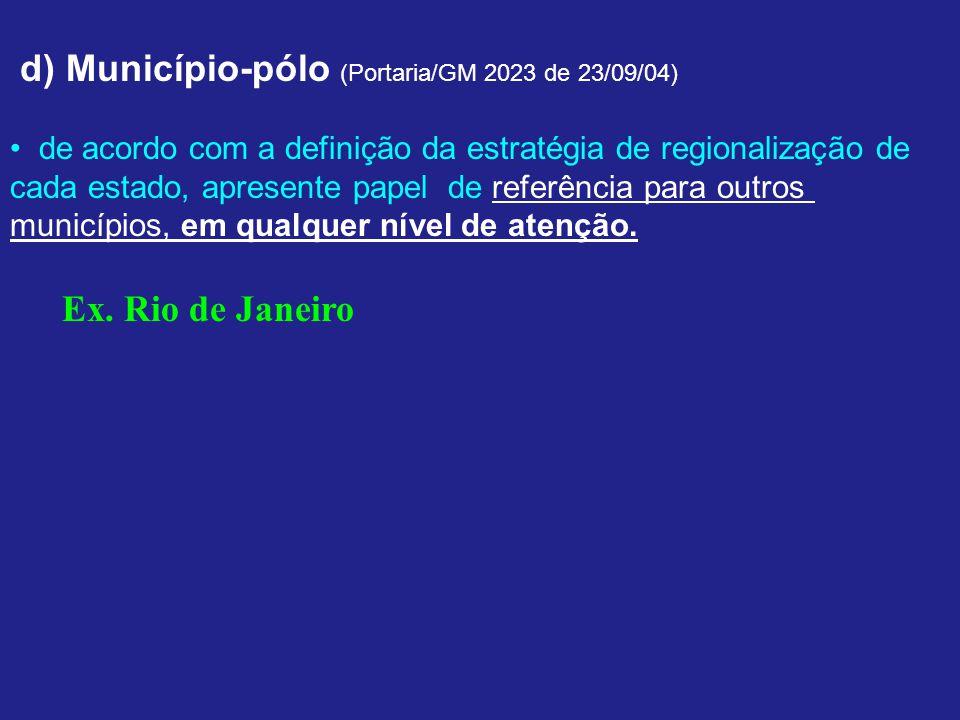 d) Município-pólo (Portaria/GM 2023 de 23/09/04) de acordo com a definição da estratégia de regionalização de cada estado, apresente papel de referência para outros municípios, em qualquer nível de atenção.