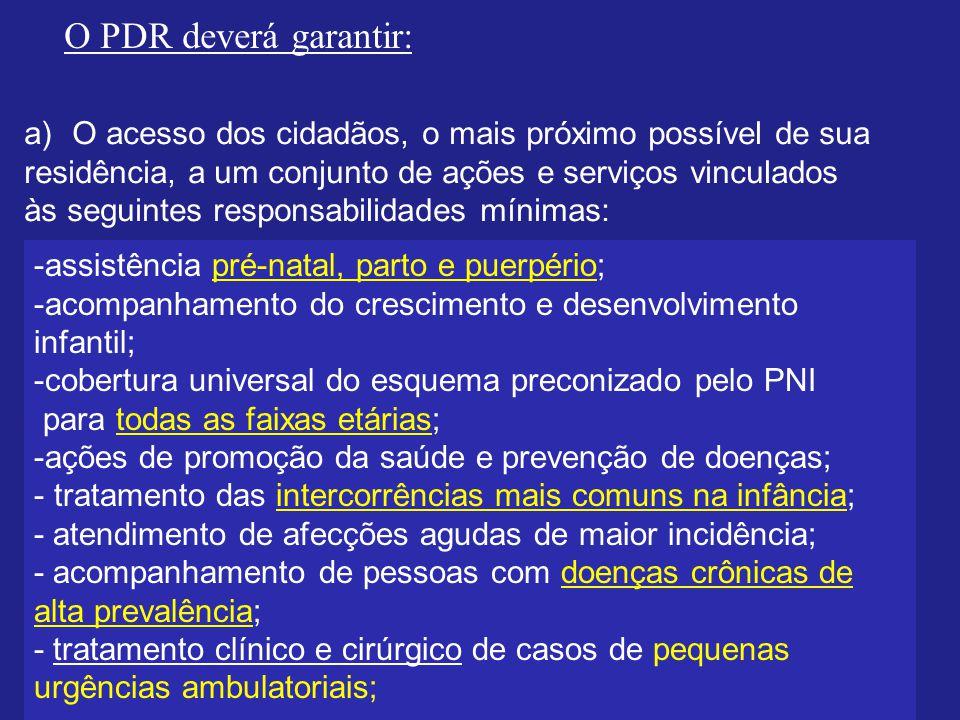 O PDR deverá garantir: a)O acesso dos cidadãos, o mais próximo possível de sua residência, a um conjunto de ações e serviços vinculados às seguintes r