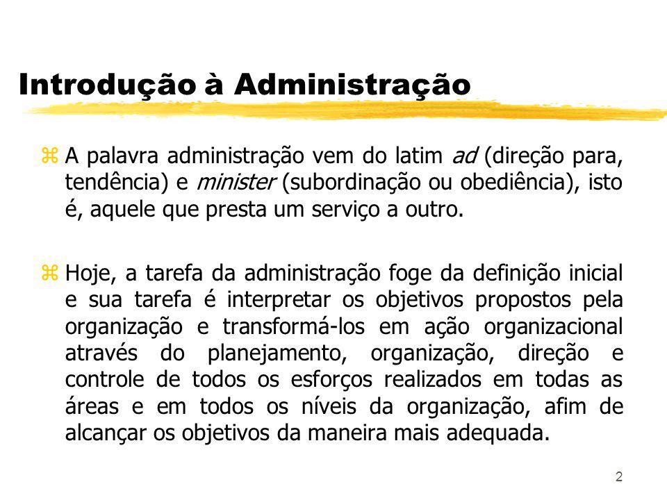 2 Introdução à Administração zA palavra administração vem do latim ad (direção para, tendência) e minister (subordinação ou obediência), isto é, aquele que presta um serviço a outro.
