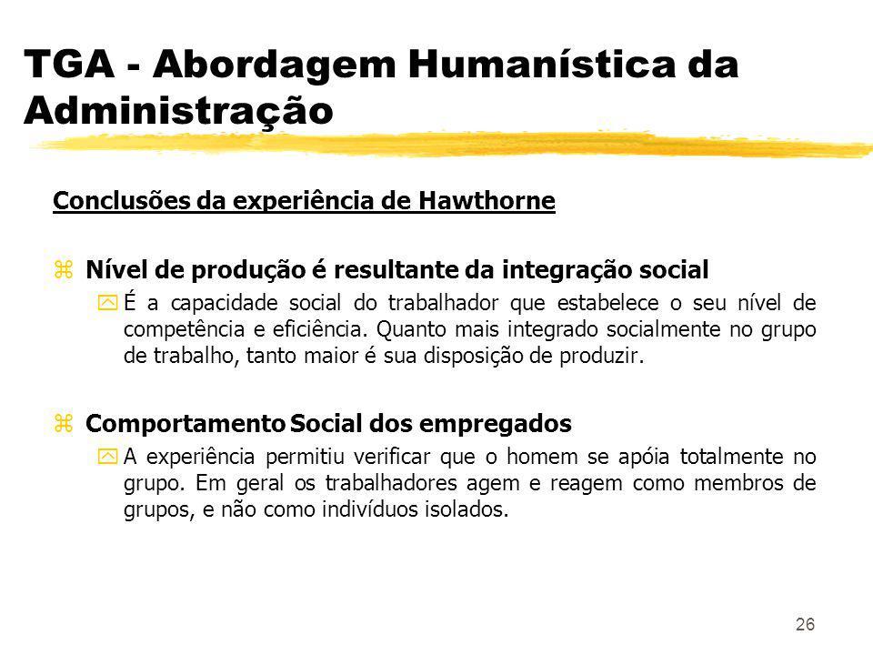 26 TGA - Abordagem Humanística da Administração Conclusões da experiência de Hawthorne zNível de produção é resultante da integração social yÉ a capacidade social do trabalhador que estabelece o seu nível de competência e eficiência.
