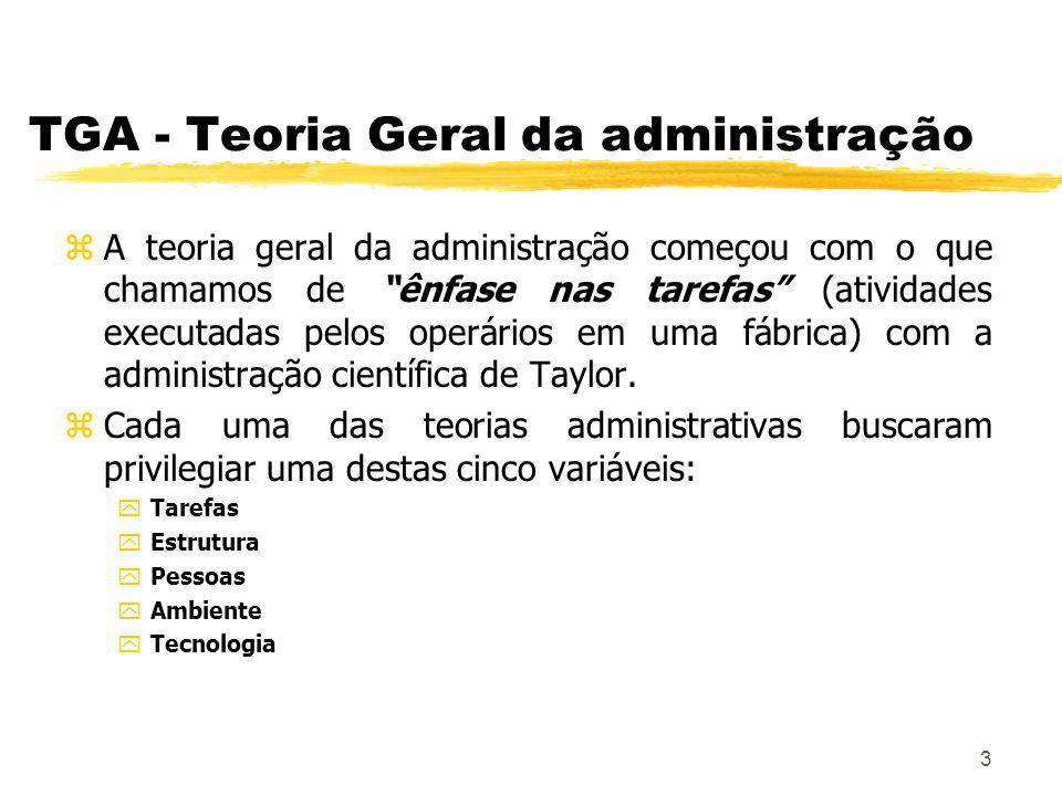3 TGA - Teoria Geral da administração zA teoria geral da administração começou com o que chamamos de ênfase nas tarefas (atividades executadas pelos operários em uma fábrica) com a administração científica de Taylor.