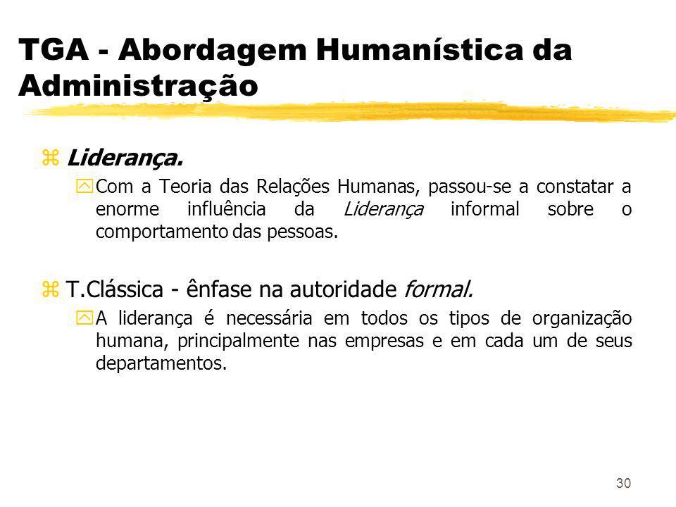 30 TGA - Abordagem Humanística da Administração zLiderança.