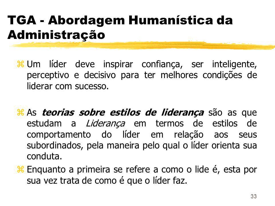 33 TGA - Abordagem Humanística da Administração zUm líder deve inspirar confiança, ser inteligente, perceptivo e decisivo para ter melhores condições de liderar com sucesso.