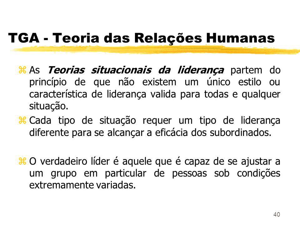 40 TGA - Teoria das Relações Humanas zAs Teorias situacionais da liderança partem do princípio de que não existem um único estilo ou característica de liderança valida para todas e qualquer situação.