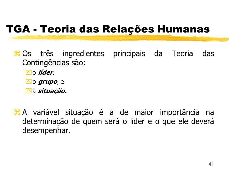 41 TGA - Teoria das Relações Humanas zOs três ingredientes principais da Teoria das Contingências são: yo líder, yo grupo, e ya situação.