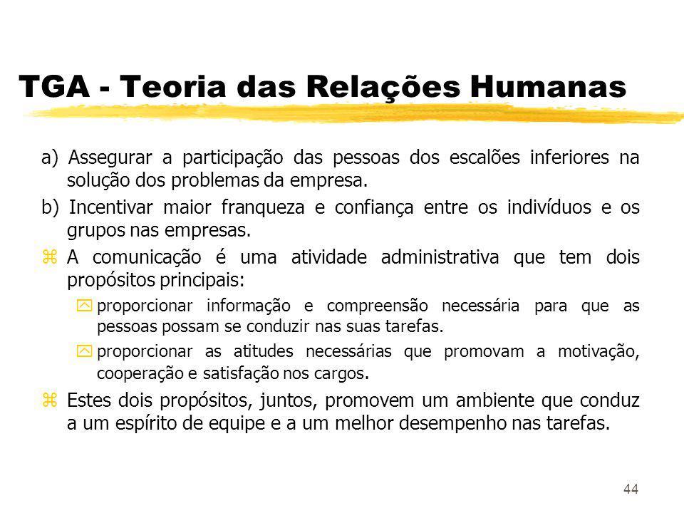 44 TGA - Teoria das Relações Humanas a) Assegurar a participação das pessoas dos escalões inferiores na solução dos problemas da empresa.