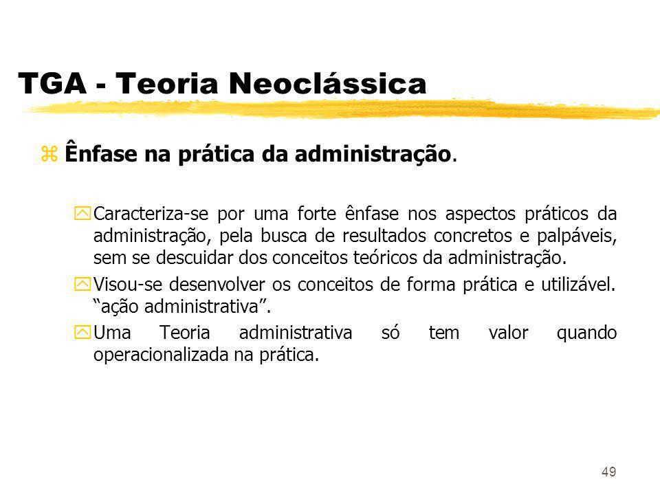 49 TGA - Teoria Neoclássica zÊnfase na prática da administração.