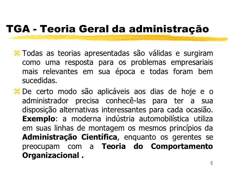 6 TGA - Teoria Geral da administração zAs cinco variáveis, até hoje constituem os principais componentes no estudo da Administração de Empresas.