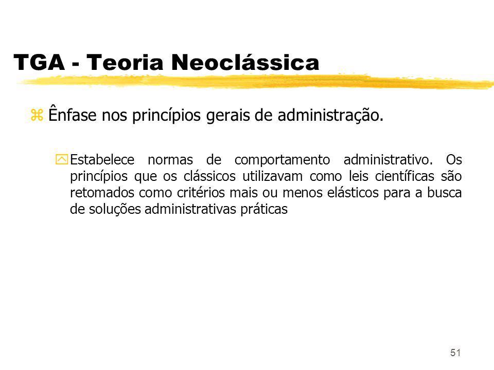51 TGA - Teoria Neoclássica zÊnfase nos princípios gerais de administração.