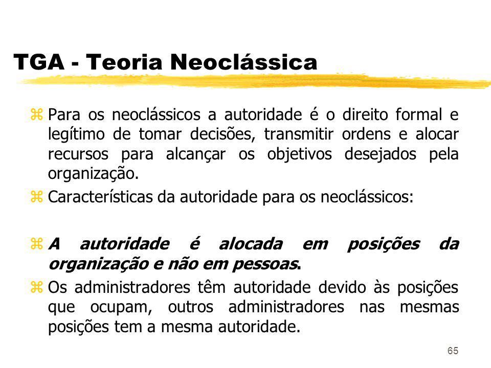 65 TGA - Teoria Neoclássica zPara os neoclássicos a autoridade é o direito formal e legítimo de tomar decisões, transmitir ordens e alocar recursos para alcançar os objetivos desejados pela organização.