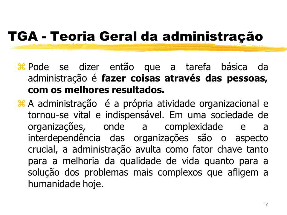 58 TGA - Teoria Neoclássica zCada empresa deve ser considerada sob o ponto de vista de eficácia e de eficiência.