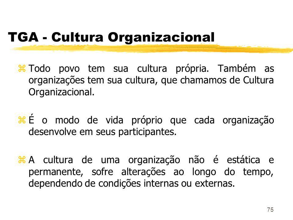 75 TGA - Cultura Organizacional zTodo povo tem sua cultura própria.